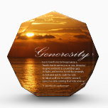 """Generosity prayer acrylic award<br><div class=""""desc"""">Lord, teach me to be generous. Teach me to serve you as you deserve; to give and not to count the cost, to fight and not to heed the wounds, to toil and not to seek for rest, to labor and not to ask for reward, save that of knowing that...</div>"""