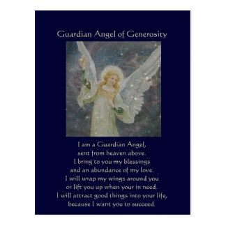 Generous -  Guardian Angel of Generosity Postcards