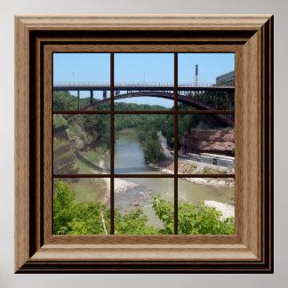 Genesee River Bridge Relaxing Faux Window Poster