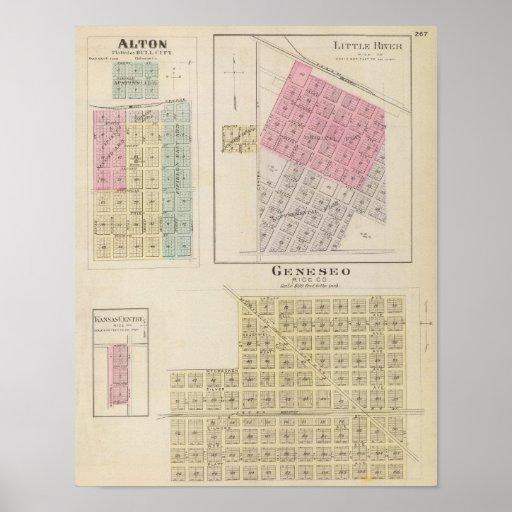 Geneseo, Alton, Little River, Kansas Print