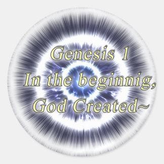 Genesis1 en el principio DIOS creado - Pegatinas Redondas