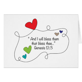 Genesis 12:3 I will bless them Christian Heart Card
