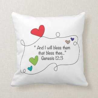 Genesis 12:3 I will bless them Christian Heart Throw Pillow