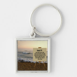 GENESIS 1:10-KEYCHAIN Silver-Colored SQUARE KEYCHAIN
