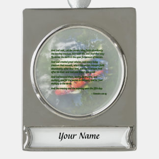 Genesis 1 20-23 And God said, Let the waters bring Silver Plated Banner Ornament