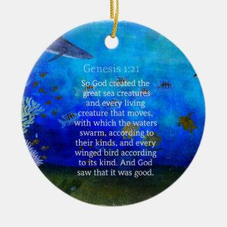Genesis 1 21 Nature themed Bible Verses about SEA Christmas Ornament