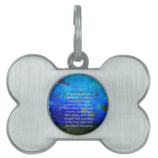 Genesis 1:21 Nature themed Bible Verses about SEA Pet ID Tag
