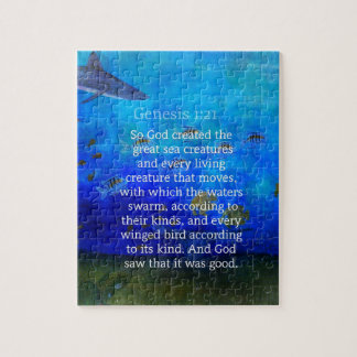 Genesis 1:21 Nature themed Bible Verses about SEA Puzzles