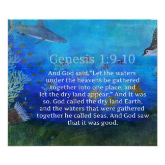Genesis 1:9-10 Bible Verse about the sea Print