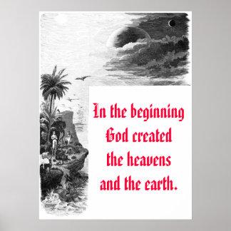 Génesis 1; la creación, en dios c del principio… póster
