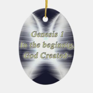Genesis:1 OVAL ORNAMET - BEGINNING GOD CREATED Ornament
