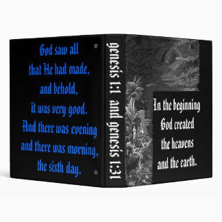 Genesis 1; the creation 3 ring binder