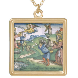 Genesis 21 1-14 Abraham's offering up of Isaac, fr Square Pendant Necklace