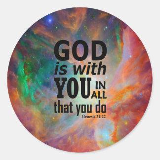 Genesis 21:22 classic round sticker