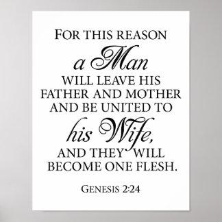 Genesis 2:24 B&W Wedding Love Quote 11 x 14 Poster