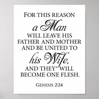 Genesis 2:24 B&W Wedding Love Quote 8 x 10 Poster