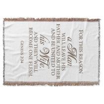 Genesis 2:24 Love Quote Wedding Blanket