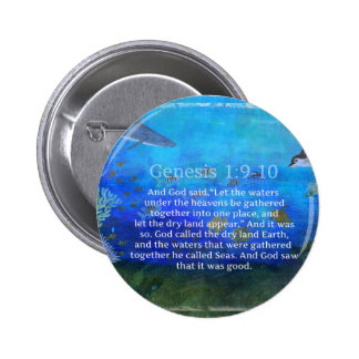 GENESIS Bible verse about sea life and nature Button