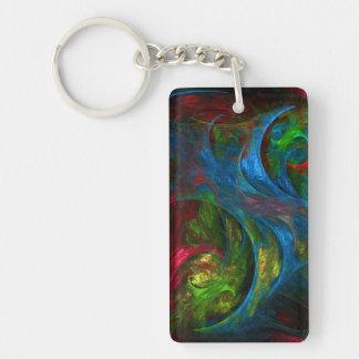 Genesis Blue Abstract Art Double-Sided Rectangular Acrylic Keychain
