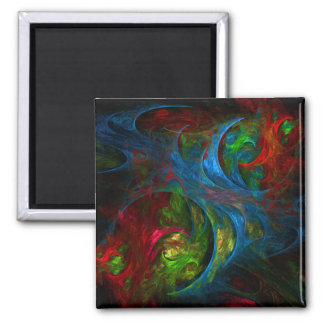 Genesis Blue Abstract Art Square Magnet