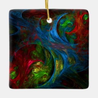 Genesis Blue Abstract Art Square Ornament