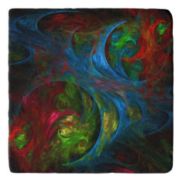 Genesis Blue Abstract Art Stone Trivet
