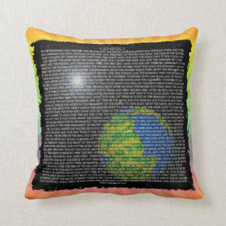 GENESIS CHAPTER ONE GOD CREATED HEAVENS AND EARTH THROW PILLOW