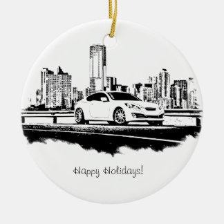 Genesis Coupe Side Shot Black Brushstroke Double-Sided Ceramic Round Christmas Ornament