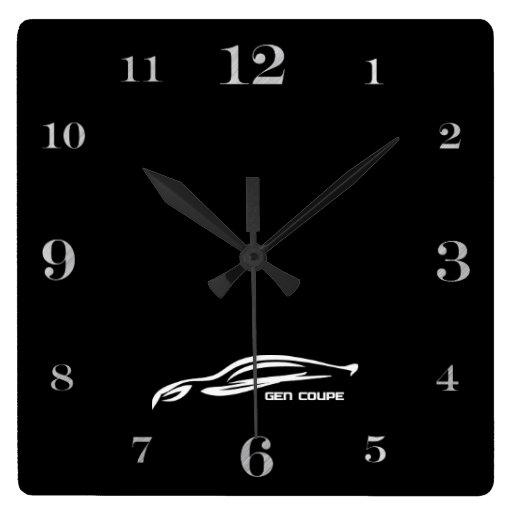 Genesis Coupe white brushstroke logo Square Wallclocks