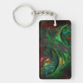 Genesis Green Abstract Art Double-Sided Rectangular Acrylic Keychain