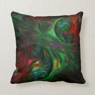 Genesis Green Abstract Art Lumbar Pillow