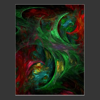 Genesis Green Abstract Art Postcard