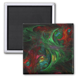 Genesis Green Abstract Art Square Magnet