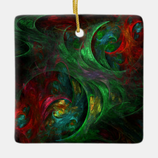 Genesis Green Abstract Art Square Ornament