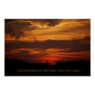 Genesis, the Creation, Evening Sunset Poster