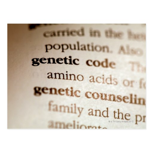 Genetic code and genetic counseling definitions postcard
