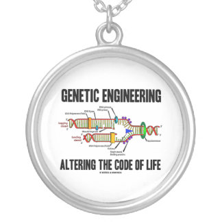Genetic Engineering Altering The Code Of Life Silver Plated Necklace