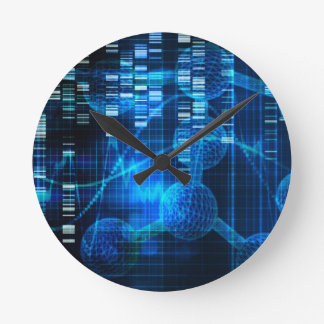 Genetic Science Research as a Medical Abstract Art Round Clock