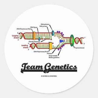 Genética del equipo (réplica de la DNA) Pegatina Redonda