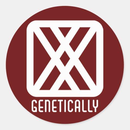 Genético: Pegatina oscuro redondo de sexo femenino
