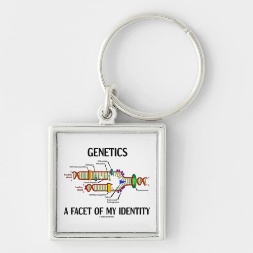 Genetics A Facet Of My Identity (DNA Replication) Silver-Colored Square Keychain