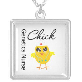 Genetics Nurse Chick v1 Square Pendant Necklace