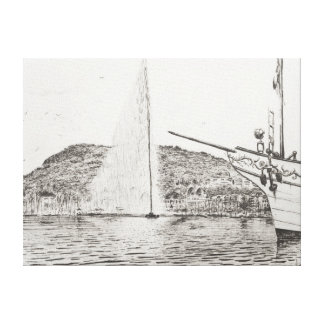Geneva Fountain and Bow of pleasure Boat 2011 Canvas Print
