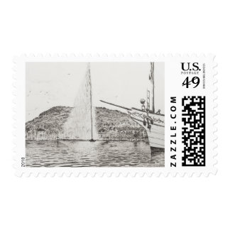 Geneva Fountain and Bow of pleasure Boat 2011 Postage Stamp