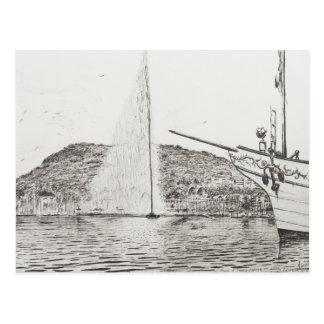 Geneva Fountain and Bow of pleasure Boat 2011 Postcard