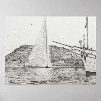 Geneva Fountain and Bow of pleasure Boat 2011 Poster