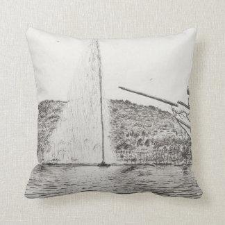 Geneva Fountain and Bow of pleasure Boat 2011 Throw Pillow