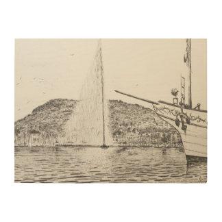 Geneva Fountain and Bow of pleasure Boat 2011 Wood Print
