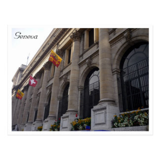 geneva hotel flags postcard