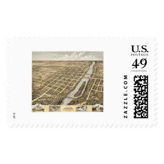 Geneva, IL Panoramic Map - 1869 Postage Stamp